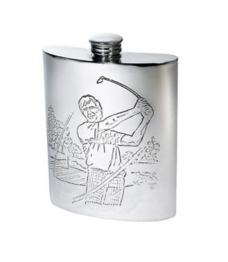 6oz Golf Scene pewter kidney hip Flask