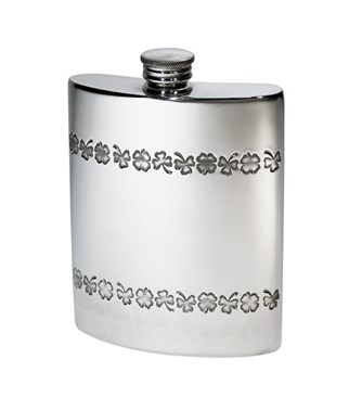 6oz shamrock pewter kidney hip flask