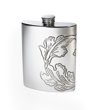 Acanthus Pattern Pewter Kidney Hip Flask