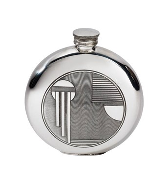 6oz round pewter Art Deco flask