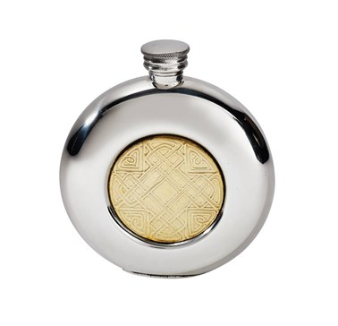 6oz round pewter Celtic Gold Flask
