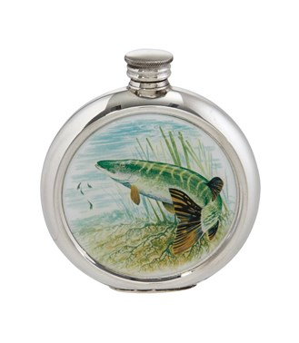 6oz round Pike Pewter Picture Flask