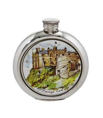 Edinburgh castle 6oz round pewter picture flask