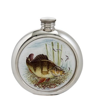 6oz round Perch pewter Picture Flask