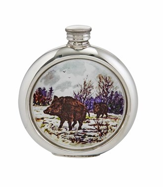 6oz Round Wild Boar Pewter Picture Flask