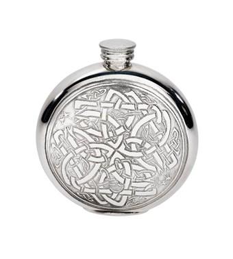 6oz round pewter celtic flask