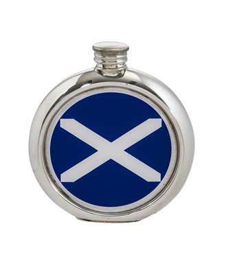 6oz round St Andrews Flag Pewter Picture Flask