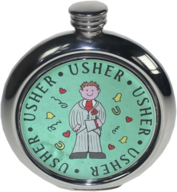 Usher 6oz round pewter Picture Flask