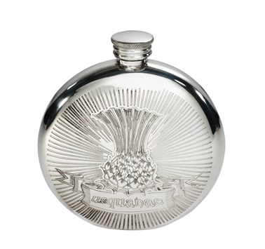 6oz Round Usquabae Single Thistle Pewter Flask