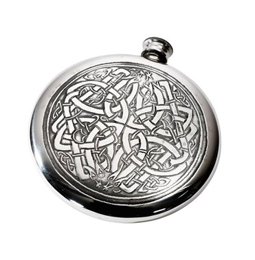 4oz Celtic circle pewter sporran flask