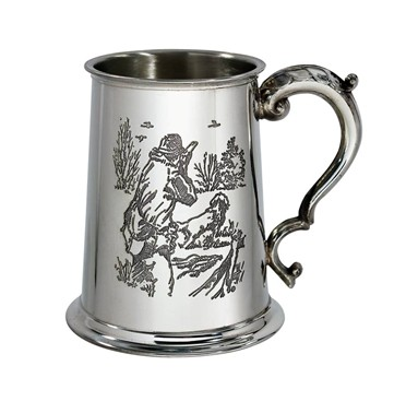 Shooting Scene 1 pint pewter Tankard