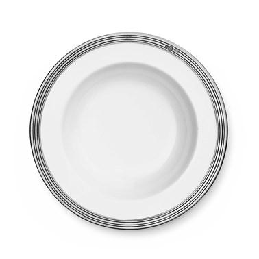 Pewter & ceramic soup / pasta bowl