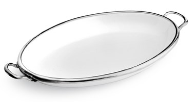 Pewter & Ceramic oval dish with handles