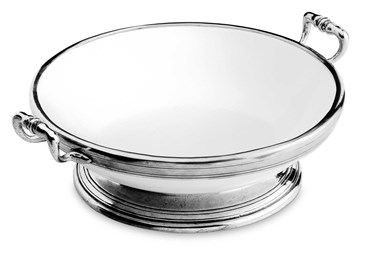 Pewter and ceramic large footed bowl with handles