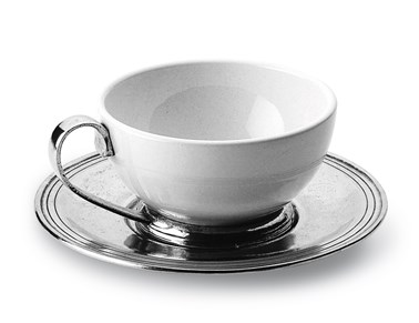 Pewter and ceramic cup & saucer