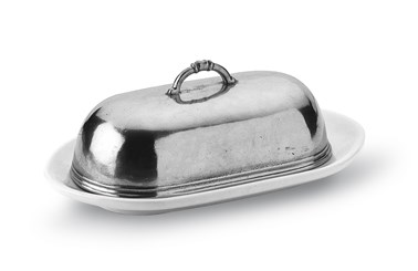 Pewter and ceramic oval butter dish