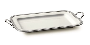 Pewter and ceramic rectangular tray with handles