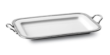 Pewter and ceramic small rectangular tray