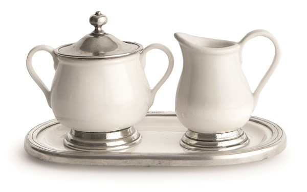 Pewter and ceramic creamer & sugar with tray