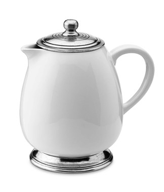 Pewter and ceramic coffee pot