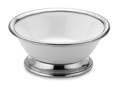 Pewter and ceramic salad bowl