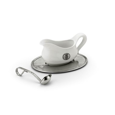 Pewter & ceramic sauce boat tray and ladle 3 piece set