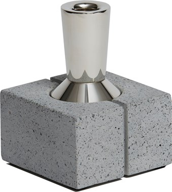 Topian Tall Pewter and Concrete Candleholder