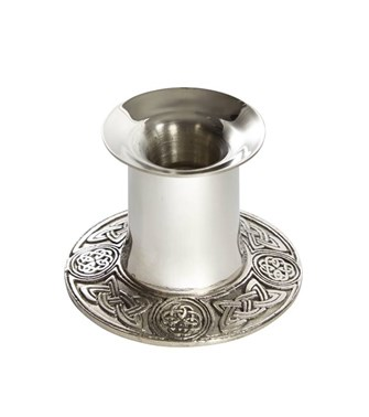 Small celtic pewter candle holder
