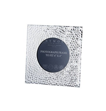 "Small Hammered 4""x4"" Pewter Picture Frame"