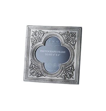 "Small Medieval Antique finish cast pewter 4""x4"" Picture Frame"
