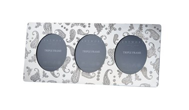 Paisley Pewter Triple Picture Frame
