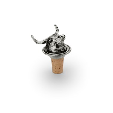 Wine cork with longhorn cow pewter head