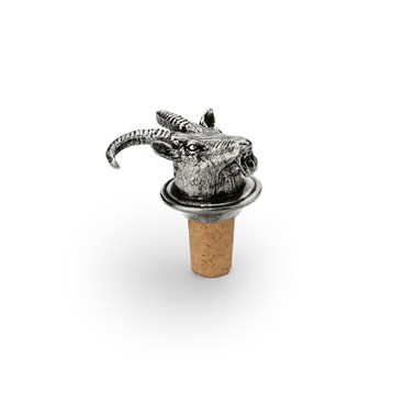 Wine cork with pewter mountain goat head