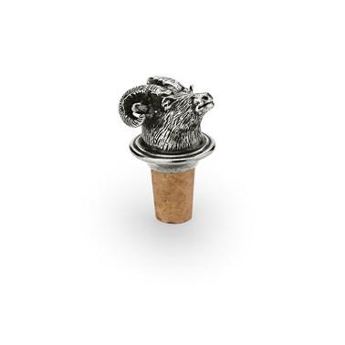Wine cork with pewter ram's head