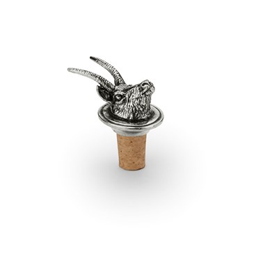Wine cork with pewter chamois head