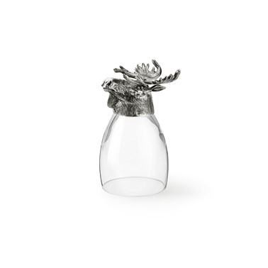 Pewter red wine glass with elk