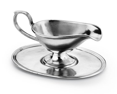 Pewter gravy boat with tray