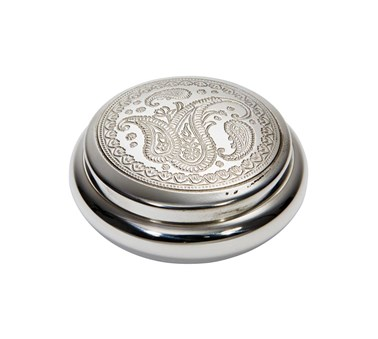 Paisley round pewter  trinket box