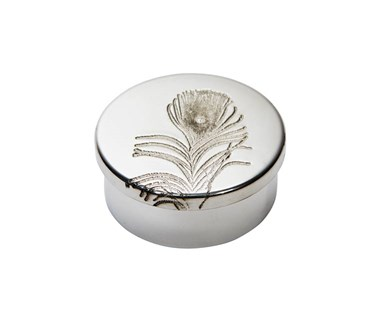 Small Peacock Pewter Trinket Pill Box
