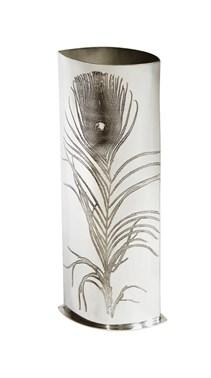 Large Peacock Pewter Vase