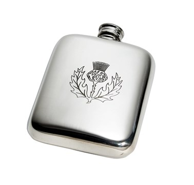4oz Thistle Stamp Pewter Pocket Flask