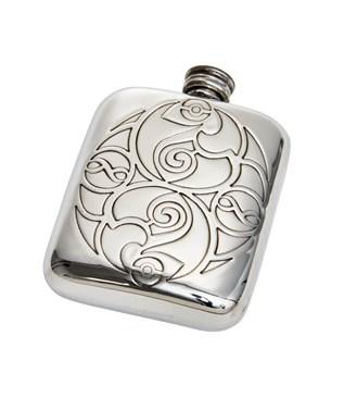Celtic spirals 4oz pewter pocket flask