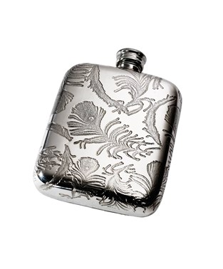 Peacock Pattern 4oz Pewter Pocket Flask