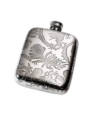 Peacock Pattern 4oz Pewter Pocket Flask