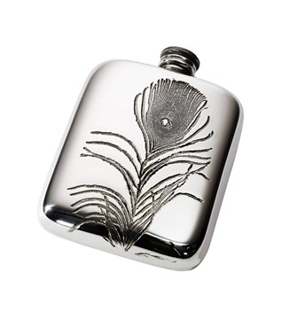 Peacock Feather 4oz Pewter Pocket Flask