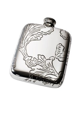 Acanthus Pattern Pewter Pocket Flask