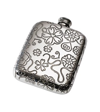 Yorkshire Rose 4oz Pewter Pocket Flask
