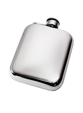 6oz Plain Pewter Pocket Flask with Captive Top