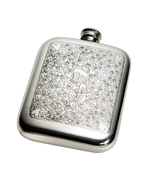 6oz Love Skull Pewter Pocket Flask