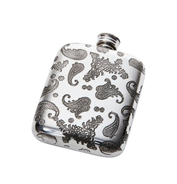 4oz paisley pewter pocket flask